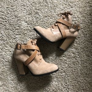 Gianni bini suede lace up booties